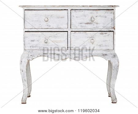 White old chest of drawers isolated