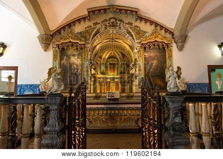Evora, Portugal - april 24, 2014: Chapel of the Bones in Evora with human bones and skulls in the wall - Alentejo Portugal
