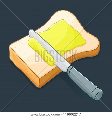 Knife Spreading Butter On A Bread