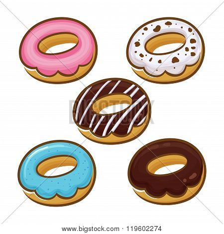 Vector Illustration Of Donuts In Different Flavor