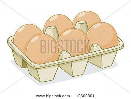 Vector Illustration Of Eggs In A Carton