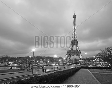 Paris, France, February 12, 2016: Eiffel tower at a night in Paris, France. Eiffel tower is one of the simbols of this city