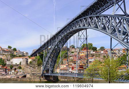 Bridge Dom Louis Over The River Douro. Porto, Portugal