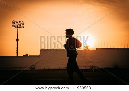 Silhouette Running Boy