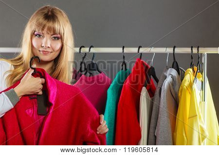 Pretty Girl Watching New Clothes.