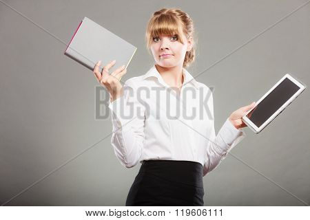 Woman Holding Ebook And Book. Modern Education.