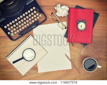 Blank Sheet Of Paper On Desk Writer