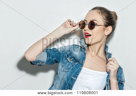 Beautiful cool girl with pretty spectacles