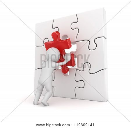 3D White Man Putting Red Puzzle Piece