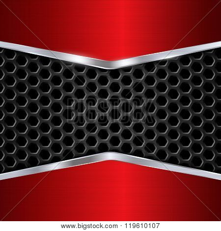 Metal Background. Red Chrome. Metal Grid. Honeycomb Background. Vector Illustration