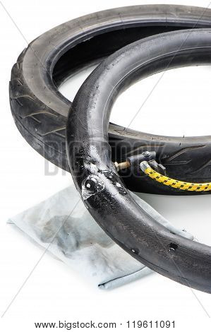 checking damage on the inner tire tube