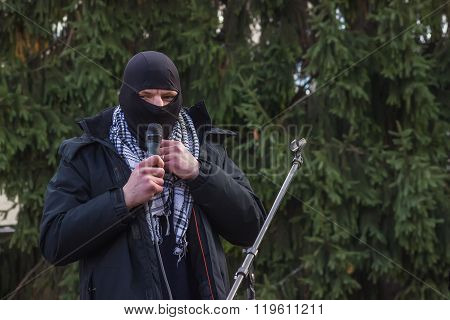 Zhytomyr, Ukraine - February 12, 2016: Extremist Ready For Fight