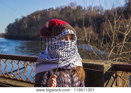 Zhytomyr, Ukraine - February 17, 2016: Girl Extremist At River