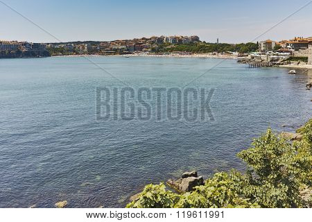 Panoramic view of Sozopol town and black sea, Burgas Region, Bulgaria