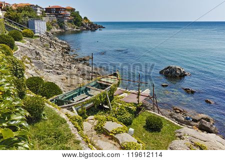 Seascape of Sozopol town and black sea, Burgas Region, Bulgaria