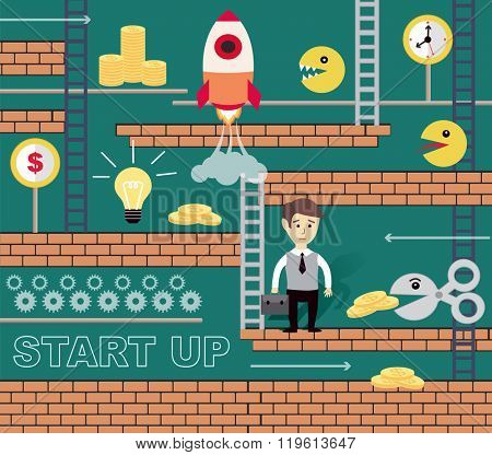 business game, businessman comes to success and money  (vector illustration, flat concept)