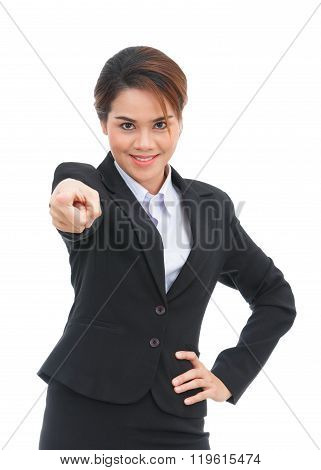 Asian Business Woman Pointing At Camera Isolated On White Background