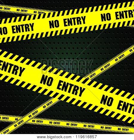 No entry sign with aluminum metal background. Steel background with circle perforated texture backgr