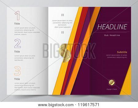 Business purple tri-fold brochure template. vector illustration.