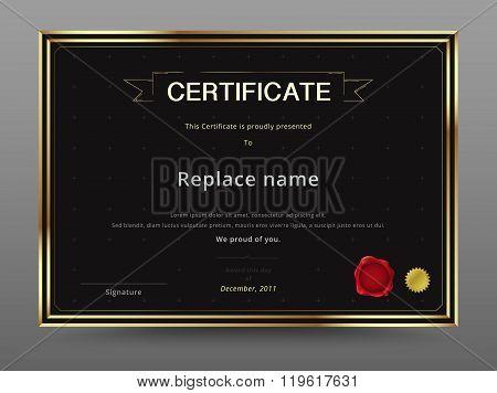 Elegant Certificate Template Design Gold And Black Color. Vector Illustration.