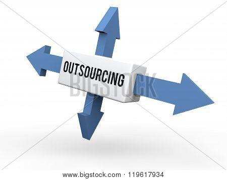 3d arrows outsourcing concept