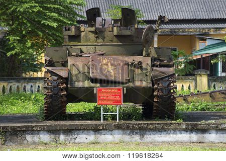 American anti-aircraft tank during the Vietnam war Museum in the city of Hue. Vietnam