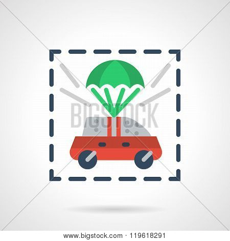 Insured car flat color design vector icon