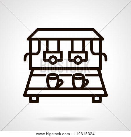 Coffee machine black line design vector icon
