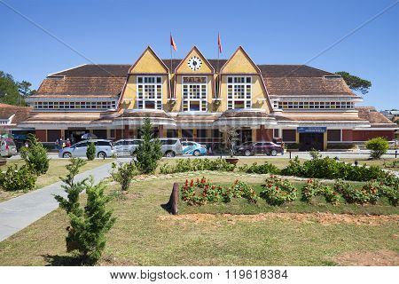 The building of the railway station in Da Lat. Vietnam