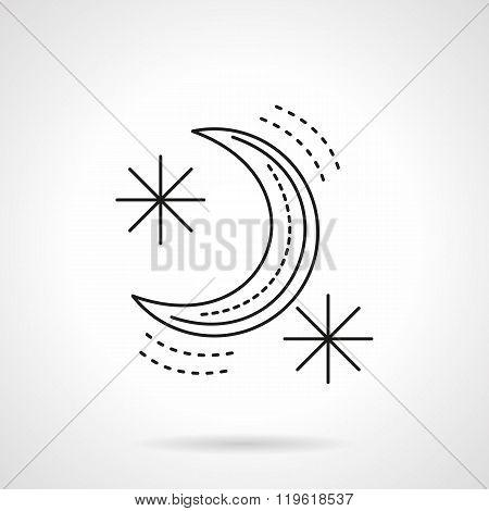Crescent flat line design vector icon