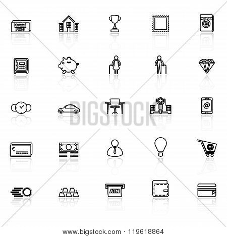 Personal Financial Line Icons With Reflect On White