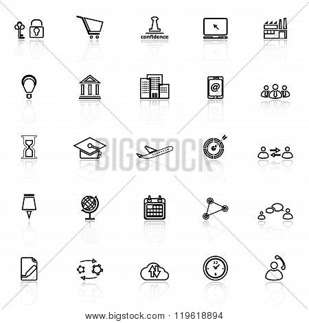 Business Connection Line Icons With Reflect On White Background