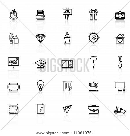 Art And Creation Line Icons With Reflect On White Background