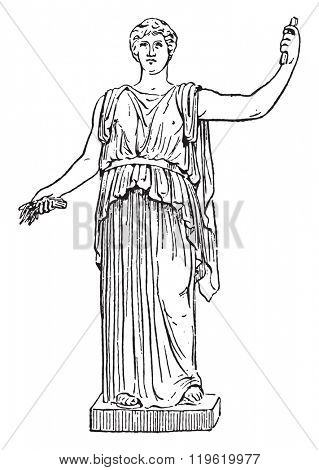 Ceres, Vatican Museum in Rome, vintage engraved illustration. Dictionary of words and things - Larive and Fleury - 1895.