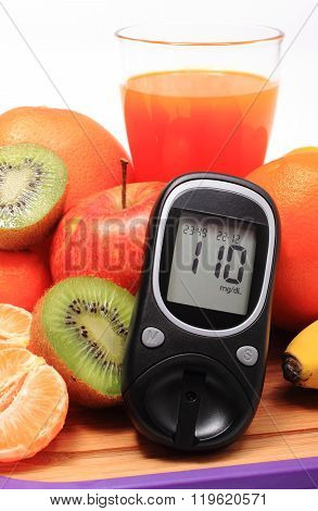 Glucose Meter, Fresh Natural Fruits And Glass Of Juice