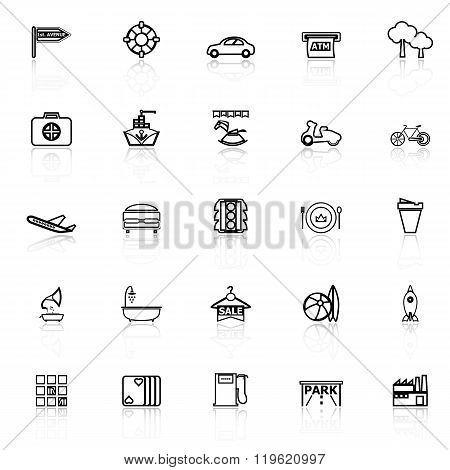 Map Place Line Icons With Reflect On White Background