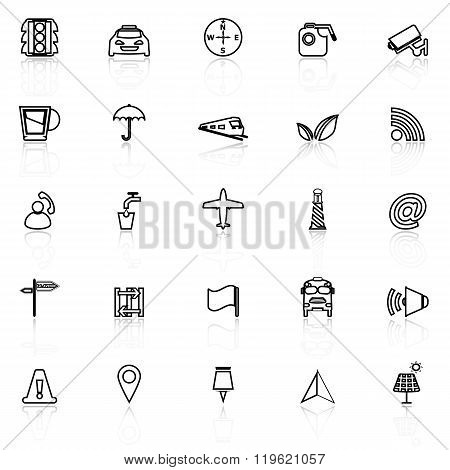 Map Sign Line Icons With Reflect On White
