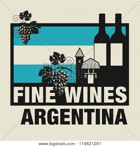 Stamp Or Label With Words Fine Wines, Argentina