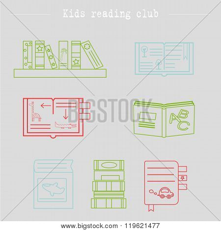 Colorful set of logotypes for school back to school kids book club