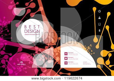Set of brochure, poster design templates in DNA molecule style