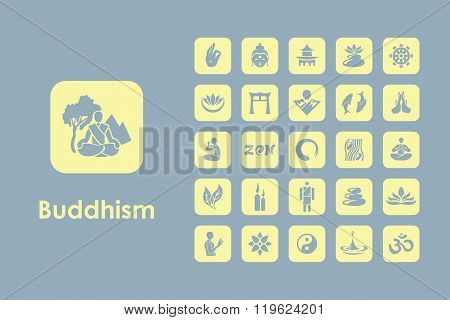 Set of buddhism simple icons