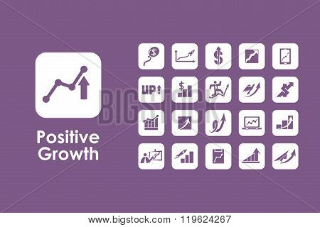 Set of positive growth simple icons