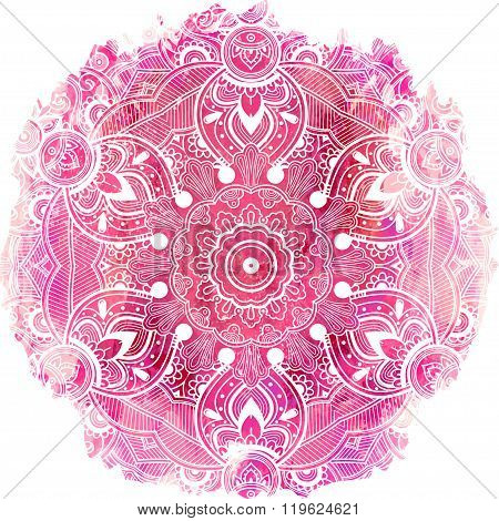 Paisley mandala over watercolor vector art.
