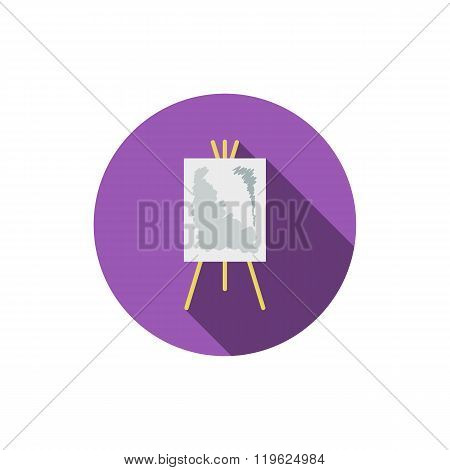 Easel Flat Icon With Long Shadow
