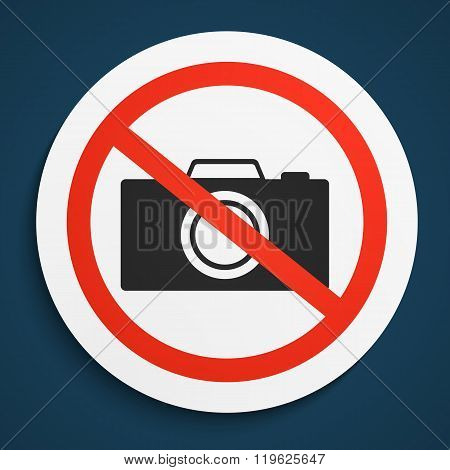 No Photos Prohibition Sign on White Round Plate. No Photo Camera forbidden symbol. No Photos Vector Illustration on blue