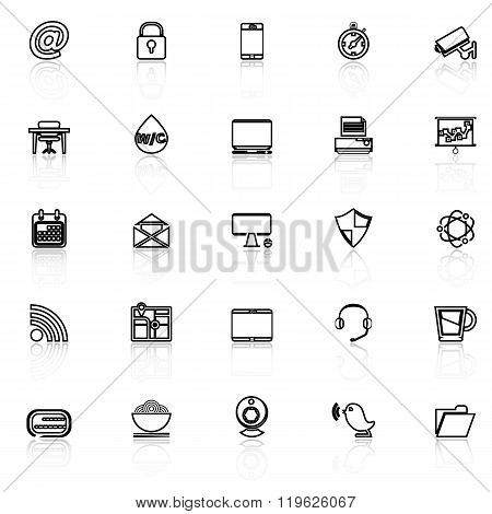 Internet Cafe Line Icons With Reflect On White