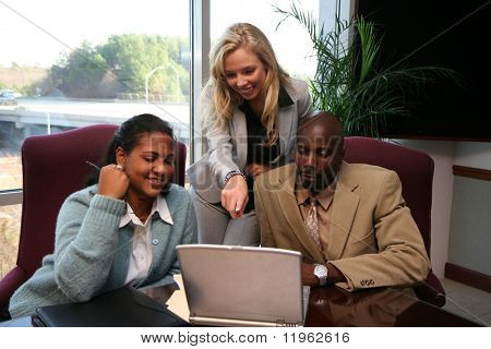 Business team working on a project for work