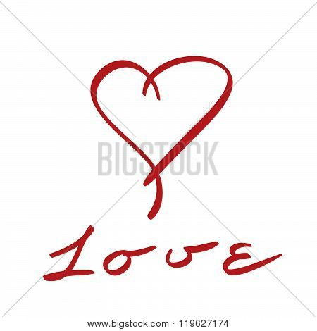 Red Vector Love Heart Hand Drawn