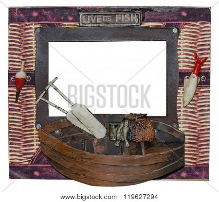 Unusual photo frame. Fishing boat with oars and fish