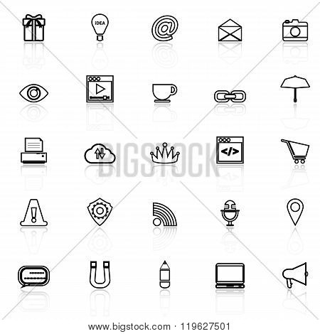 Internet Website Line Icons With Reflect On White